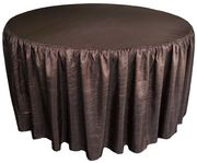 """72"""" Round Ruffled Fitted Crush Taffeta Tablecloth With Skirt - Chocolate 63791 (1pc/pk)"""