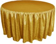 "72"" Round Ruffled Fitted Crushed Taffeta Tablecloth With Skirt - Gold 63727 (1pc/pk)"