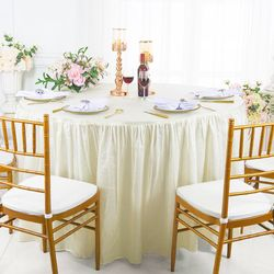 """72"""" Round Ruffled Fitted Crushed Taffeta Tablecloth With Skirt - Ivory 63702 (1pc/pk)"""