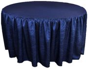 "72"" Round Ruffled Fitted Crushed Taffeta Tablecloth With Skirt - Navy Blue 63723 (1pc/pk)"