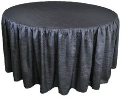 """72"""" Round Ruffled Fitted Crushed Taffeta Tablecloth With Skirt - Pewter / Charcoal 63760 (1pc/pk)"""