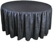 "72"" Round Ruffled Fitted Crushed Taffeta Tablecloth With Skirt - Pewter / Charcoal 63760 (1pc/pk)"