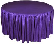 "72"" Round Ruffled Fitted Crushed Taffeta Tablecloth With Skirt - Regency Purple 63763 (1pc/pk)"