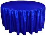 "72"" Round Ruffled Fitted Crushed Taffeta Tablecloth With Skirt - Royal Blue 63722 (1pc/pk)"