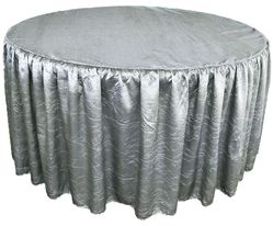 """72"""" Round Ruffled Fitted Crushed Taffeta Tablecloth With Skirt - Silver / Gray 63740 (1pc/pk)"""