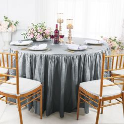 "72"" Round Ruffled Fitted Crushed Taffeta Tablecloth With Skirt - Silver / Gray 63740 (1pc/pk)"