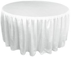 """72"""" Round Ruffled Fitted Crushed Taffeta Tablecloth With Skirt - White 63701 (1pc/pk)"""