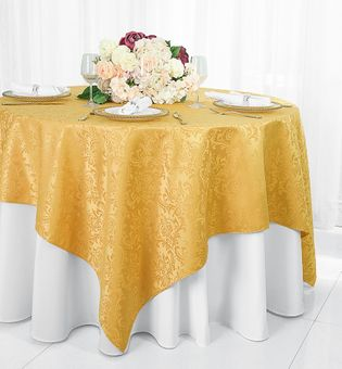 """72"""" Square Damask Jacquard Polyester Table Overlays/ Table Cloths (14 Colors)"""