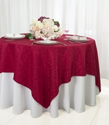 """72"""" Square Damask Jacquard Polyester Table Overlays - Apple Red 96408(1pc/pk)"""