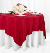 "72"" Square Damask Jacquard Polyester Table Overlays - Apple Red 96408(1pc/pk)"