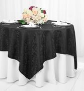 "72"" Square Damask Jacquard Polyester Table Overlays - Black 96439(1pc/pk)"