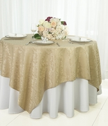 """72"""" Square Damask Jacquard Polyester Table Overlays - Champagne 96428(1pc/pk)"""
