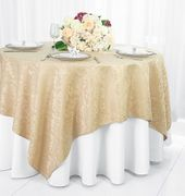 "72"" Square Damask Jacquard Polyester Table Overlays - Champagne 96428(1pc/pk)"