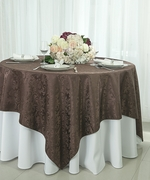 """72"""" Square Damask Jacquard Polyester Table Overlays - Chocolate 96491(1pc/pk)"""