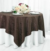 "72"" Square Damask Jacquard Polyester Table Overlays - Chocolate 96491(1pc/pk)"