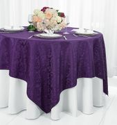 "72"" Square Damask Jacquard Polyester Table Overlays - Eggplant 96445(1pc/pk)"