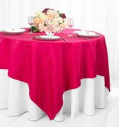 "72"" Square Damask Jacquard Polyester Table Overlays - Fuchsia 96409(1pc/pk)"