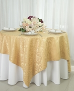 """72"""" Square Damask Jacquard Polyester Table Overlays - Gold 96427(1pc/pk)"""