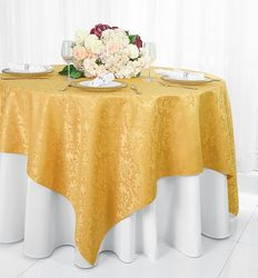 "72"" Square Damask Jacquard Polyester Table Overlays - Gold 96427(1pc/pk)"
