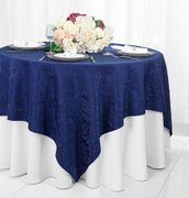 "72"" Square Damask Jacquard Polyester Table Overlays - Navy Blue 96423(1pc/pk)"