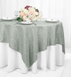 """72"""" Square Damask Jacquard Polyester Table Overlays - Silver 96440(1pc/pk)"""