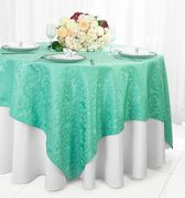 "72"" Square Damask Jacquard Polyester Table Overlays - Tiff Blue / Aqua Blue 96418(1pc/pk)"