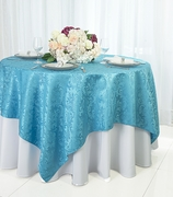 """72"""" Square Damask Jacquard Polyester Table Overlays - Turquoise 96485(1pc/pk)"""