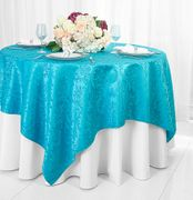 "72"" Square Damask Jacquard Polyester Table Overlays - Turquoise 96485(1pc/pk)"