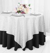 "72"" Square Damask Jacquard Polyester Table Overlays - White 96401(1pc/pk)"