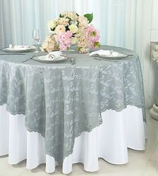 """72"""" Square Lace Table Overlay Toppers - Silver/Gray 90740(1pc/pk)"""