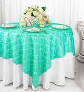 "72"" Square Lace Table Overlay Toppers - Tiff Blue / Aqua Blue 90718(1pc/pk)"