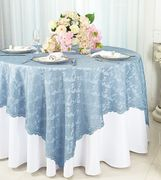 "72"" Square Lace Table Overlay Toppers - Busty Blue 90703 (1pc/pk)"