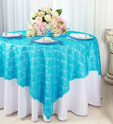 """72"""" Square Lace Table Overlay Toppers - Turquoise 90785(1pc/pk)"""