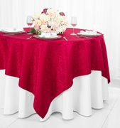 "72"" Square Marquis Damask Jacquard Polyester Table Overlays - Apple Red 98408(1pc/pk)"