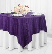 "72"" Square Marquis Damask Jacquard Polyester Table Overlays - Eggplant 98445(1pc/pk)"