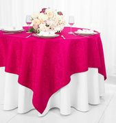 "72"" Square Marquis Damask Jacquard Polyester Table Overlays - Fuchsia 98409(1pc/pk)"