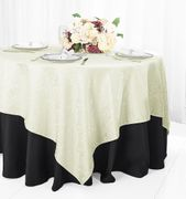 "72"" Square Marquis Damask Jacquard Polyester Table Overlays - Ivory 98402(1pc/pk)"