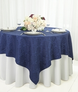"72"" Square Marquis Damask Jacquard Polyester Table Overlays - Navy Blue 98423(1pc/pk)"