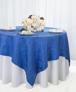 "72"" Square Marquis Damask Jacquard Polyester Table Overlays - Royal Blue 98422(1pc/pk)"