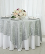"72"" Square Marquis Damask Jacquard Polyester Table Overlays - Silver 98440(1pc/pk)"