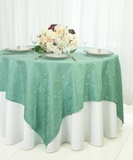 "72"" Square Marquis Damask Jacquard Polyester Table Overlays - Tiff Blue / Aqua Blue 98418(1pc/pk)"
