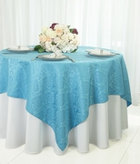 "72"" Square Marquis Damask Jacquard Polyester Table Overlays - Turquoise 98485(1pc/pk)"