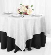 "72"" Square Marquis Damask Jacquard Polyester Table Overlays - White 98401(1pc/pk)"