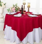 """72""""x 72"""" Square Sequin Paillette Poly Flax / Burlap Table Overlay - Apple Red 10508 (1pc/pk)"""