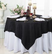 "72""x 72"" Square Sequin Paillette Poly Flax / Burlap Table Overlay - Black 10539 (1pc/pk)"