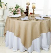 """72""""x 72"""" Square Sequin Paillette Poly Flax / Burlap Table Overlay - Champagne 10528 (1pc/pk)"""