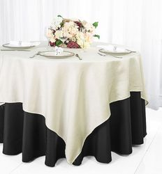 """72"""" Square Paillette Poly Flax / Burlap Table Overlay - Ivory 10502 (1pc/pk)"""