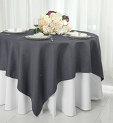 """72"""" Square Paillette Poly Flax / Burlap Table Overlay - Pewter 10560 (1pc/pk)"""