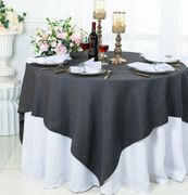 "72""x 72"" Square Sequin Paillette Poly Flax / Burlap Table Overlay - Pewter / Charcoal 10560 (1pc/pk)"