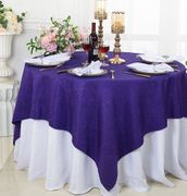"72""x 72"" Square Sequin Paillette Poly Flax / Burlap Table Overlay - Regency Purple 10563 (1pc/pk)"